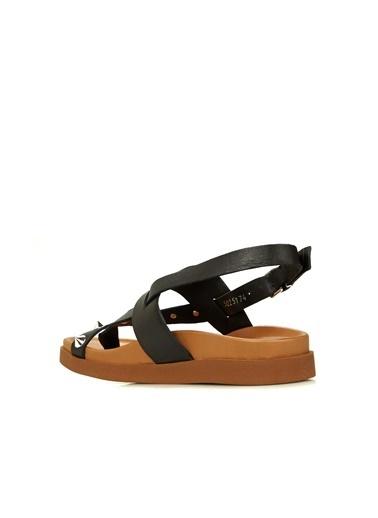 Divarese Divarese 5025174 Parmak Detaylı Detaylı Taba Kadın Sandalet Siyah